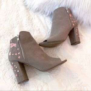 Shoes - Open Toed Floral Embroidered Pink Taupe Booties 7